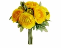 "9"" Silk Ranunculus Flower Wedding Bouquet Arrangement-Set of 12"