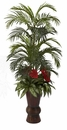 """4' 10"""" Areca Palm, Anthurium & Mixed Greenery in Bamboo Planter"""