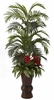 "4' 10"" Areca Palm, Anthurium & Mixed Greenery in Bamboo Planter"