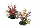 Artficial Tropical Mixed Assorted Arrangements in Ceramic Container - Set of 2