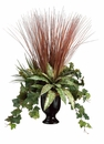 Artificial Bromeliad Plant, Ivy and Grass in Ceramic Vase