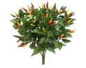 1 Dozen - 10 inch Artificial Pepper Bush w/126 Lvs. & 63 Peppers
