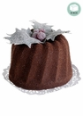 Artificial Chocolate Bundt Cake with Holly in Acetate Box - Set of 12