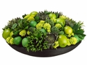 Artificial Fruit and Florals set in Bamboo Plate Centerpiece