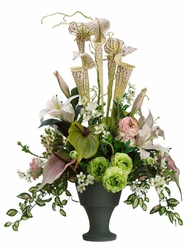 "30"" Artificial Pitcher Plant, Anthurium and Lily Flower Arrangement"