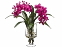 Artificial Silk Phalaenopsis Orchid in Glass Vase