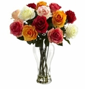Assorted Blooming Roses w/Vase