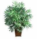 "32"" Bamboo Palm in Wood Wicker Basket Silk Plant"