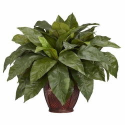 Birdsnest Fern w/Decorative Vase Silk Plant