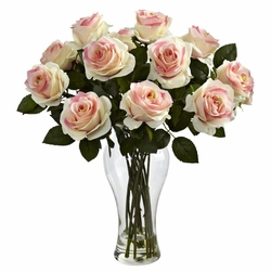 "18"" Silk Blooming Roses Arrangement in glass Vase - Light Pink"