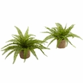 "15"" Artificial Boston Fern Bush Plants with Burlap Containers - Set of 2"