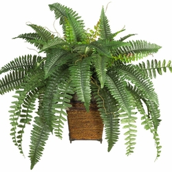 Boston Fern w/Wood Wicker Basket Silk Plant