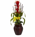 "32"" Tall Bromeliad & Orchid Combo in Planter"