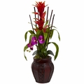 "32"" Bromeliad & Orchid Combo in Planter - Orchid Color"