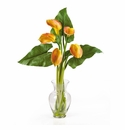 Calla Lilly Liquid Illusion w/Leaves Silk Flower Arrangement