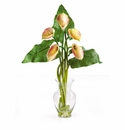 Calla Lilly Liquid Illusion With Leaves Silk Flower Arrangement