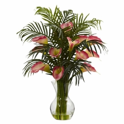 "27"" Pink Calla Lily & Palm Combo Flower Arrangement"