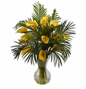 "27"" Calla Lily & Palm Combo Arrangement - Yellow"