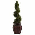 "31"" Cedar Spiral with Decorative Planter"