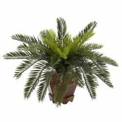 Cycas w/Hexagon Vase Silk Plant