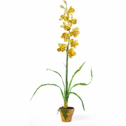 Cymbididium w/Moss Pot Silk Orchid Arrangement