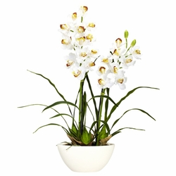 "30"" Cymbidium w/White Vase Silk Flower Arrangement"
