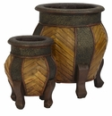 Decorative Rounded Wood Planters (Set of 2)