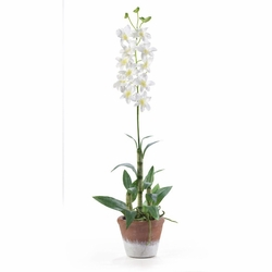 Dendrobium w/White Wash Pot Silk Flower Arrangement