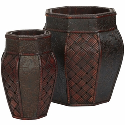 Design and Weave Panel Decorative Planters (Set of 2)