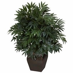"35"" Double Bamboo Palm with Decorative Planter Silk Plant"