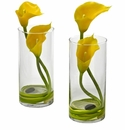 Yellow Double Calla Lily in Cylinder Vases (Set of 2)