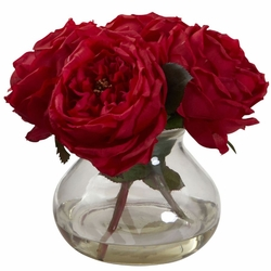 "8"" Fancy Silk Rose Arrangement in Vase - Red"