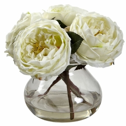 "8"" Fancy Silk Rose Arrangement in Vase - White"