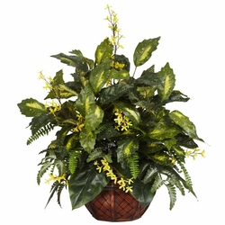 "27"" Forsythia & Mixed Greens Silk Plant"