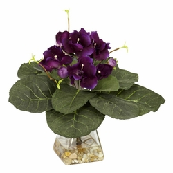 "12"" Gloxina with Vase Silk Plant"