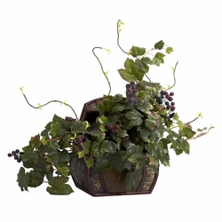 "20"" Grape Leaf & Chest Silk Plant"