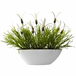 "11"" Grass & White Floral with White Planter (Indoor/Outdoor)"