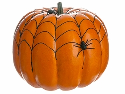 Halloween Special - Artificial Weighted Spider Web Pumpkin with Spider- Set of 2