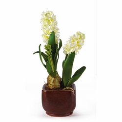 Hyacinth w/Glazed Pot Silk Flower Arrangement