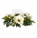 "6.5"" Artificial Magnolia Candelabrum Silk Flower Arrangement Centerpiece"