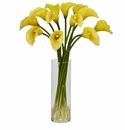 "20"" Mini Calla Lily Silk Flower Arrangement - Yellow"