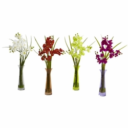 "18""  Mini Phalaenopsis w/Colored Vase (Set of 4)"