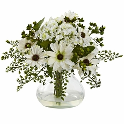 Medium Mixed Daisy Arrangement w/Vase