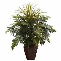 "29"" Mixed Grass & Fern with Decorative Planter"