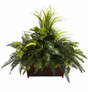 "Large 36"" Mixed Grass & River Fern w/Wood Planter"