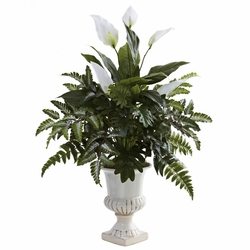 "32"" Mixed Greens & Spathyfillum with Decorative Urn"