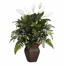 "29"" Mixed Greens with Spathyfillum & Decorative Vase Silk Plant"