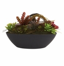 "8.5"" Artificial Mixed Succulent Cactus Arrangement with Oval Black Container"