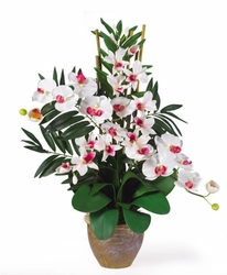 Double Phalaenopsis & Dendrobium Orchid Silk Flower Arrangement