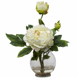 Peony w/Fluted Vase Silk Flower Arrangement